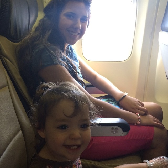 Aylabelle and Grace on plane